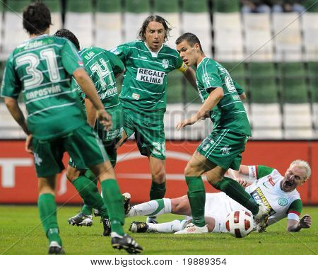 BUDAPEST, HUNGARY - OCTOBER 16: Krisztian Zahorecz (28) in action at Hungarian National Championship soccer game Ferencvaros vs Kaposvvar October 16, 2010 in Budapest, Hungary.