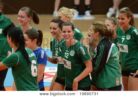 KAPOSVAR, HUNGARY - NOVEMBER 14: Miskolc players celebrate after the Hungarian NB I. League woman volleyball game Kaposvar vs Miskolc on November 14, 2010 in Kaposvar, Hungary.