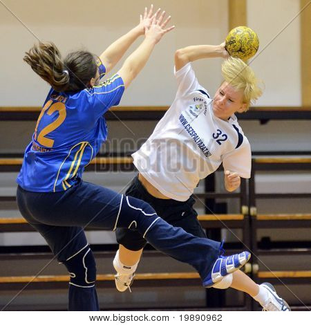 KAPOSVAR, HUNGARY - NOVEMBER 21: Unidentified players in action at Hungarian Handball National Championship III. match (Kaposvar vs. Mesztegnyo) November 21, 2010 in Kaposvar, Hungary.
