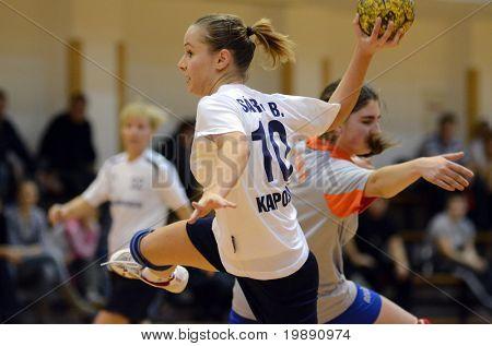 KAPOSVAR, HUNGARY - NOVEMBER 21: Bernadett Sardi (10) in action at Hungarian Handball National Championship III. match (Kaposvar vs. Mesztegnyo) November 21, 2010 in Kaposvar, Hungary.