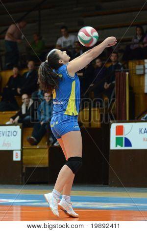 KAPOSVAR, HUNGARY - DECEMBER 12: Barbara Balajcza in action at the Hungarian NB I. League woman volleyball game Kaposvar vs Eger on December 12, 2010 in Kaposvar, Hungary.