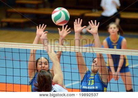 KAPOSVAR, HUNGARY - DECEMBER 12: Gabriella Kondor (13) in action at the Hungarian NB I. League woman volleyball game Kaposvar vs Eger on December 12, 2010 in Kaposvar, Hungary.