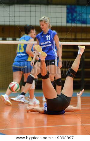 KAPOSVAR, HUNGARY - DECEMBER 19: Unidentified players in action at the Hungarian NB I. League woman volleyball game Kaposvar vs Palota Bollhoff on December 19, 2010 in Kaposvar, Hungary.