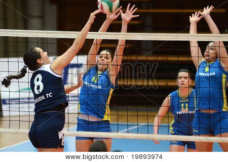 KAPOSVAR, HUNGARY - JANUARY 14: Szandra Szombathelyi (10) in action at the Hungarian NB I. League woman volleyball game Kaposvar vs Ujbuda, January 14, 2011 in Kaposvar, Hungary.