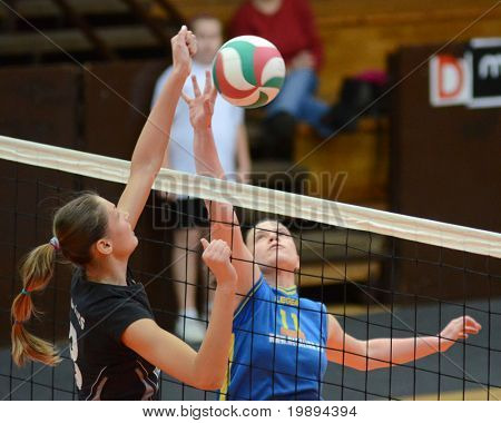 KAPOSVAR, HUNGARY - JANUARY 23: Marianna Palfy (11) in action at the Hungarian NB I. League woman volleyball game Kaposvar vs Miskolc, January 23, 2011 in Kaposvar, Hungary.
