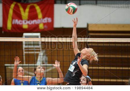 KAPOSVAR, HUNGARY - JANUARY 23: Redei (9) in action at the Hungarian NB I. League woman volleyball game Kaposvar vs Miskolc, January 23, 2011 in Kaposvar, Hungary.