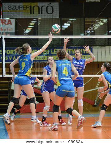 KAPOSVAR, HUNGARY - FEBRUARY 13: Rebeka Rak (9) in action at the Hungarian NB I. League woman's volleyball game Kaposvar vs Bekescsaba on February 13, 2011 in Kaposvar, Hungary.