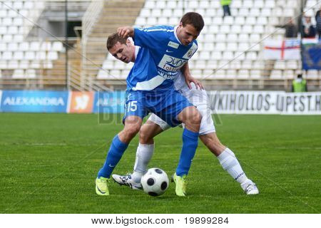 KAPOSVAR, HUNGARY - APRIL 16: Norbert Konyves (15) in action at a Hungarian National Championship soccer game - Kaposvar vs MTK Budapest on April 16, 2011 in Kaposvar, Hungary.