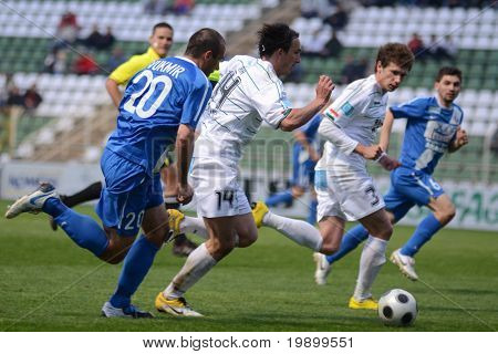 KAPOSVAR, HUNGARY - APRIL 16: Lorant Olah (14) in action at a Hungarian National Championship soccer game - Kaposvar vs MTK Budapest on April 16, 2011 in Kaposvar, Hungary.