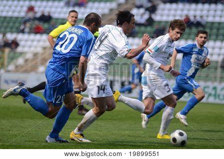 KAPOSVAR, HUNGARY - APRIL 16: Lorant Olah (14) in action at a Hungarian National Championship soccer game - Kaposvar vs MTK Budapest on April 16, 2011 in Kaposvar, Hungary.