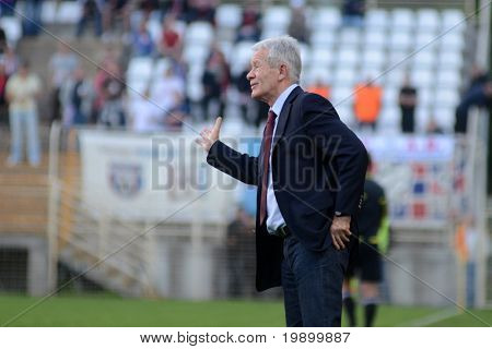 KAPOSVAR, HUNGARY - APRIL 20: Gyorgy Mezei (C) Videoton coach in action at a Hungarian National Cup soccer game Kaposvar vs Videoton April 20, 2011 in Kaposvar, Hungary.