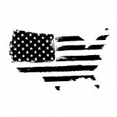 America map flag shaped. Territory of United States of America with flag. Shape of american map. Mon poster