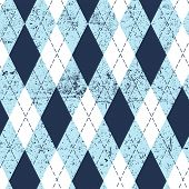 Seamless argyle aged pattern. Traditional diamond check print in moderate blue, soft blue and white  poster