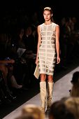 NEW YORK - FEBRUARY 15:   Model walks the runway for Herve Leger by Max Azria  collections Mercedes-