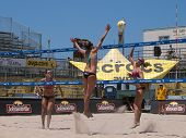 HUNTINGTON BEACH, CA. - MAY 23: AVP Huntington Beach Open, Ashley Ivy and Lauren Fendrick vs Jennife