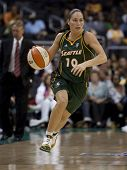 LOS ANGELES, CA. - SEPTEMBER 16: Sue Bird dribbles the ball up court during the WNBA playoff game of