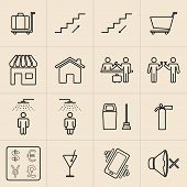 Exhibition Line Icons Set poster