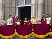 LONDON, UK - APRIL 29: The Royal family appears on Buckingham Palace balcony after Prince William an