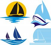 stock photo of sail-boats  - silhouettes of yachts and sailing boats in blue and black - JPG