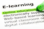 stock photo of online education  - Online education highlighted in green under the heading E - JPG