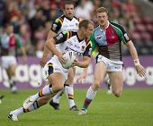 TWICKENHAM UK AUGUST 03, Gavin Platt running with the ball while Playing in the Engage Super League
