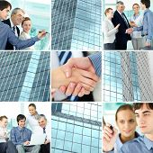 image of team building  - Collage of business team and office building - JPG