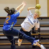 KAPOSVAR, HUNGARY - NOVEMBER 21: Unidentified players in action at Hungarian Handball National Champ