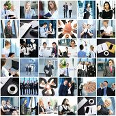 Big collage of different businesspeople. Office, finance, and corporative relations concept. poster
