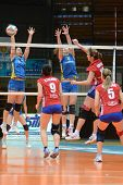 KAPOSVAR, HUNGARY - FEBRUARY 4: Barbara Balajcza (L) blocks the ball at the Hungarian NB I. League w