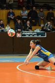 KAPOSVAR, HUNGARY - FEBRUARY 13: Barbara Balajcza receives the ball at the Hungarian NB I. League wo