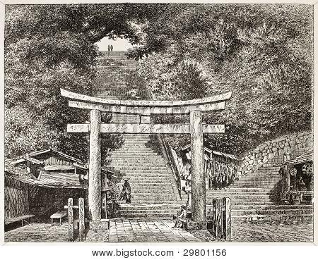 Atagosa-Yama Tor alte Ansicht, Japan. Erstellt von Lancelot nach Foto von unbekannter Autor, veröffentlicht am L