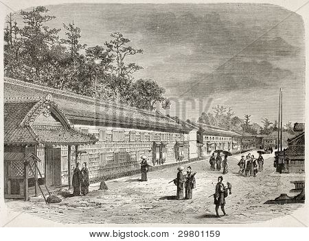 Arima palace exterior walls, Edo (Tokyo). Created by Therond after photo of unknown author, published on Le Tour du Monde, Paris, 1867