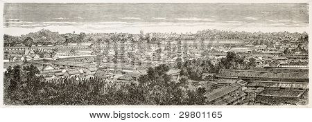 Edo (Tokyo) old view. Created by Therond after photo of unknown author, published on Le Tour du Monde, Paris, 1867