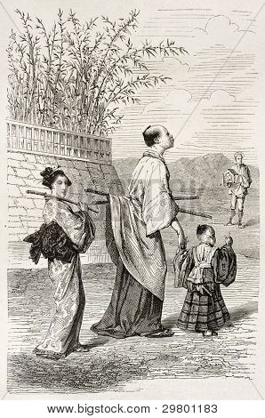 Baby samurai old illustration. Create by Bayard after engraving of unknown Japanese author, published on Le Tour du Monde, Paris, 1867