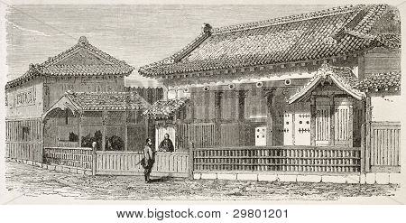 Satsuma palace old view, Japan. Created by Therond after watercolor of Roussin, published on Le Tour du Monde, Paris, 1867