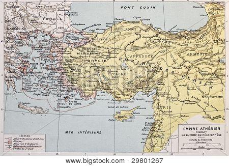 Athenian empire old map. By Paul Vidal de Lablache, Atlas Classique, Librerie Colin, Paris, 1894
