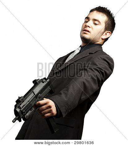 mafia man aiming down with gun against a white background