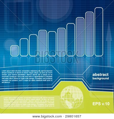 Modern blue and green business or financial background with diagram and abstract elements
