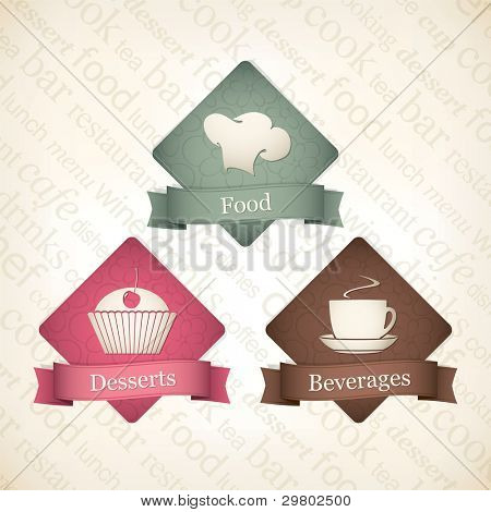 Food and beverages label set