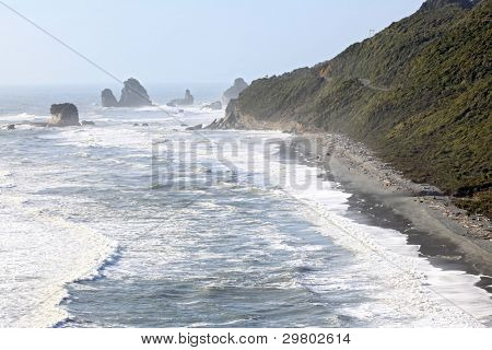 Coastal line from Pancake Rock Canyon Punakaiki New Zealand