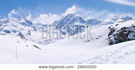 Panorama of Snow Mountain Range Landscape at Matterhorn Alps Alpine Region Switzerland