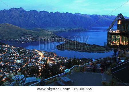 landscape of Queenstown City New Zealand at Night