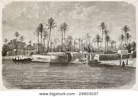 Bagdad Umgebung entlang Tigris Flusses. erstellt von de Bar nach dem Foto des unbekannten Autors veröffentlicht