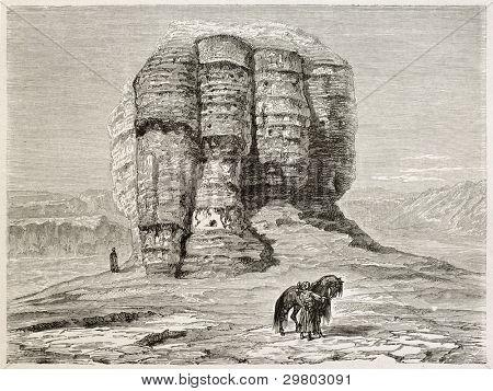 Aqur Kuf old view, Mesopotamia (nowadays Iraq). Created by Neuville after Lejean, published on Le Tour du Monde, Paris, 1867