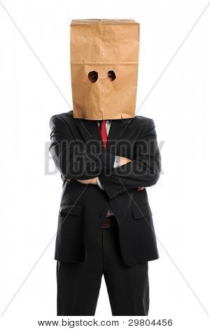 Portrait of businessman with paper bag over head isolated over white background