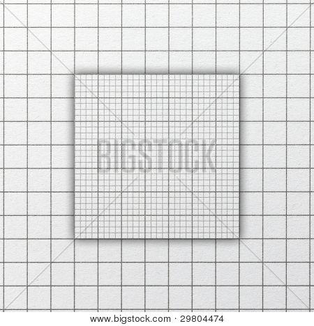 Papel de escala de rejilla de gráfico con acentuado o había ampliada sección de centro. Plaza de tiro a la dimensión de la imagen.