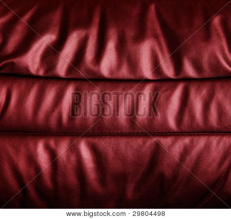 Burgundy red leather upholstery