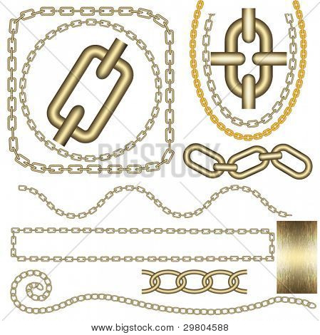 Metal chain vector set.