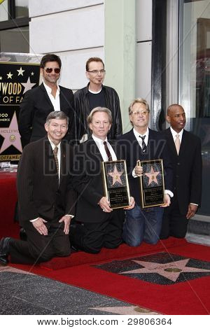 LOS ANGELES - FEB 6: Leron Gubler; Dewey Bunnell; Gerry Beckley; John Stamos; Billy Bob Thornton at a ceremony where their rock band 'America' in honored with a star in Los Angeles, CA. Feb 6, 2012
