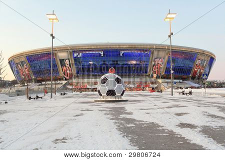 DONETSK, UKRAINE - FEBRUARY 4: Donbass Arena stadium on February 4, 2012 in Donetsk, Ukraine. One semifinal, one quarterfinal, and 3 group matches of Euro-2012 will be played here.